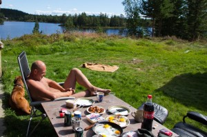 Frokost med skalldyr og bacon